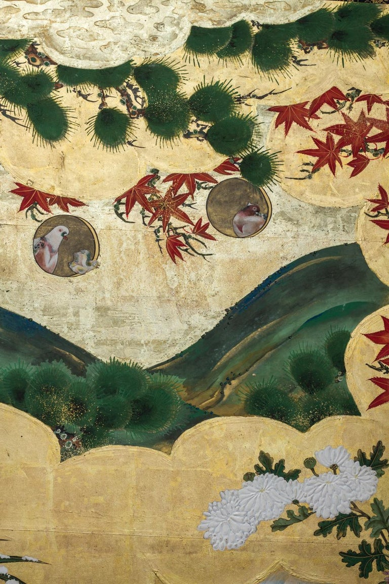 Silk Edo Period Japanese Six Panel Screen Fall Into Winter For Sale