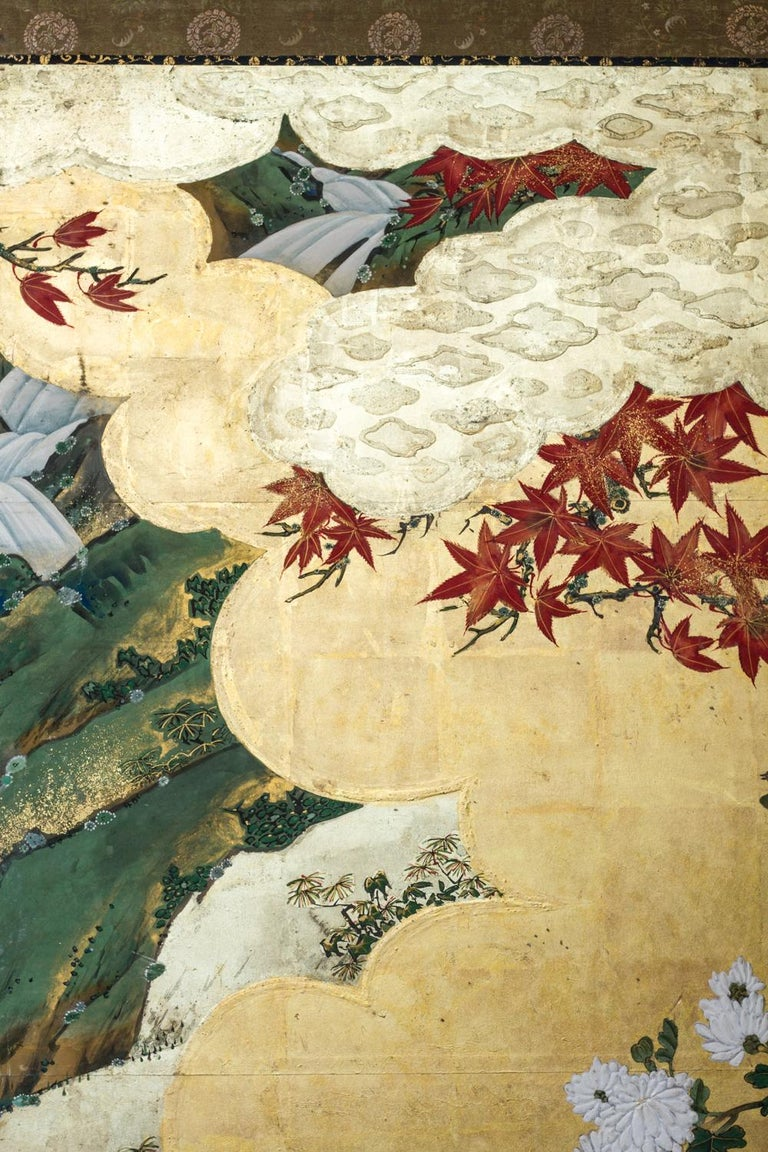 Edo Period Japanese Six Panel Screen Fall Into Winter For Sale 1