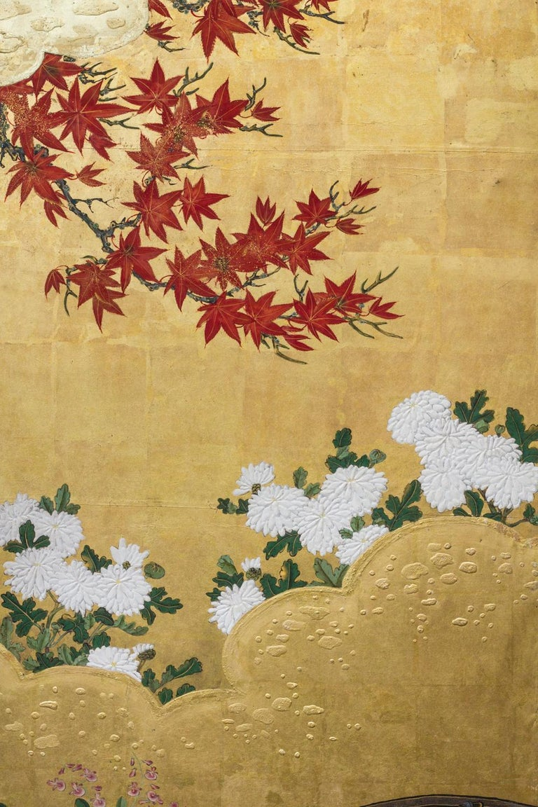 Edo Period Japanese Six Panel Screen Fall Into Winter For Sale 3