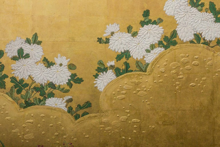 Edo Period Japanese Six Panel Screen Fall Into Winter For Sale 4
