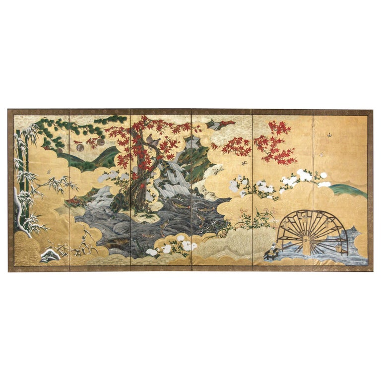 Edo Period Japanese Six Panel Screen Fall Into Winter For Sale