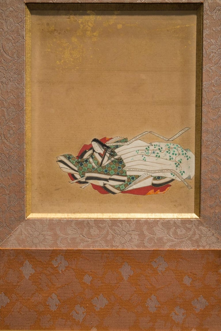 Glass Edo Period Rectangular Ink on Paper and Gilded Frame Japanese Painting, 1780
