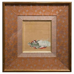Edo Period Rectangular Ink on Paper and Gilded Frame Japanese Painting, 1780
