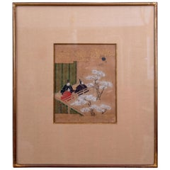 Edo Period Rectangular Ink on Paper and Gilded Frame Japanese Painting