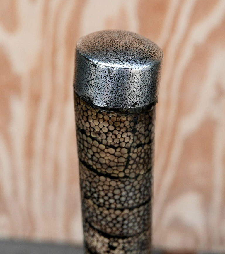 Late 19th Century Meiji Period Shagreen Clad Cane with Minamoto Clan Crest For Sale