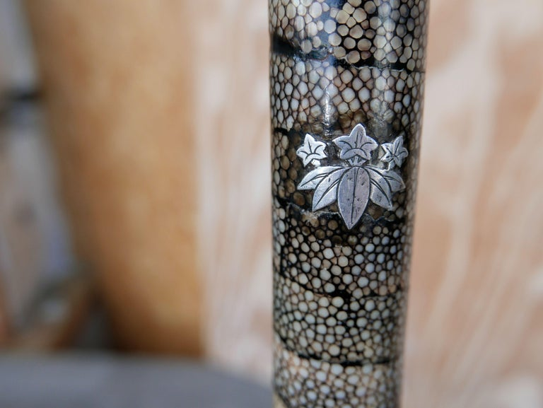 Wrought Iron Meiji Period Shagreen Clad Cane with Minamoto Clan Crest For Sale
