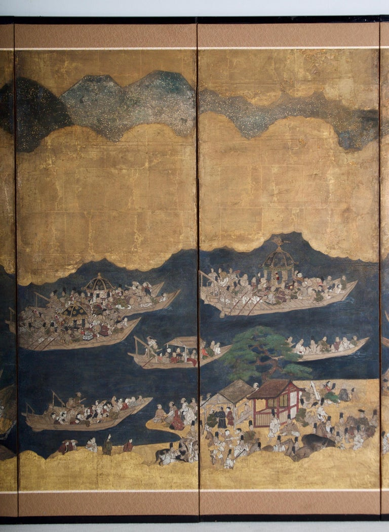 Japanese Edo Period Six Panel Folding Screen, Depicting the Hie Sanno Matsuri Festival For Sale