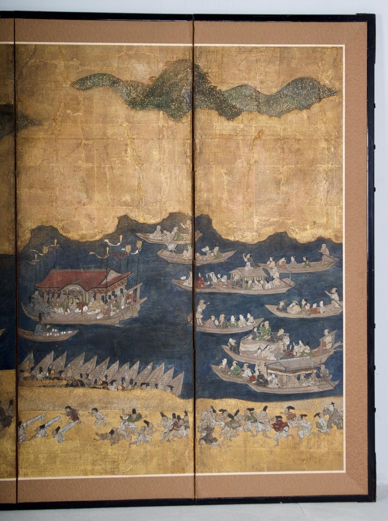 Hand-Crafted Edo Period Six Panel Folding Screen, Depicting the Hie Sanno Matsuri Festival For Sale