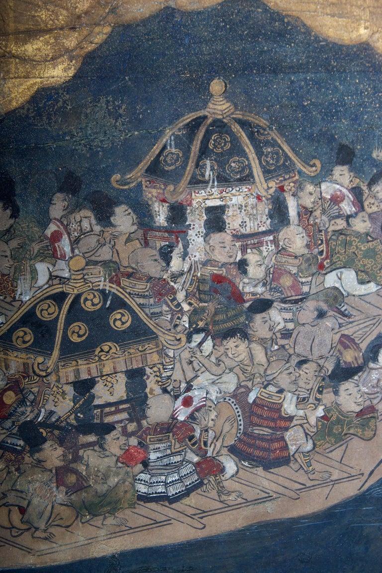 Edo Period Six Panel Folding Screen, Depicting the Hie Sanno Matsuri Festival In Good Condition For Sale In San Francisco, CA