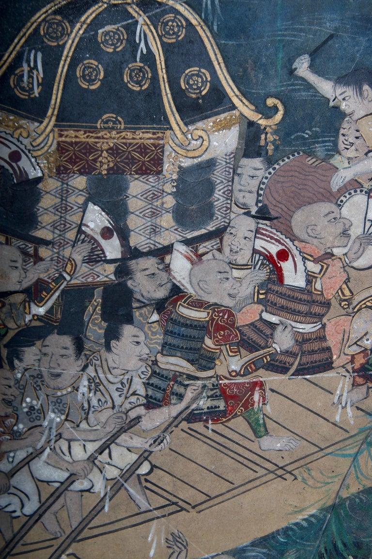 18th Century Edo Period Six Panel Folding Screen, Depicting the Hie Sanno Matsuri Festival For Sale