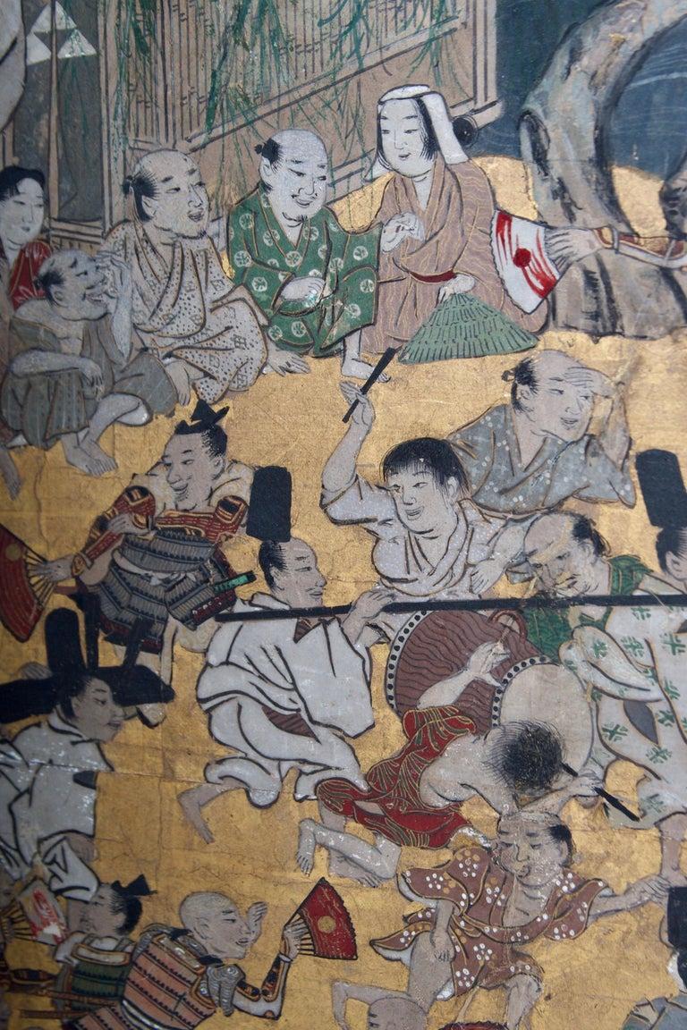 Paper Edo Period Six Panel Folding Screen, Depicting the Hie Sanno Matsuri Festival For Sale