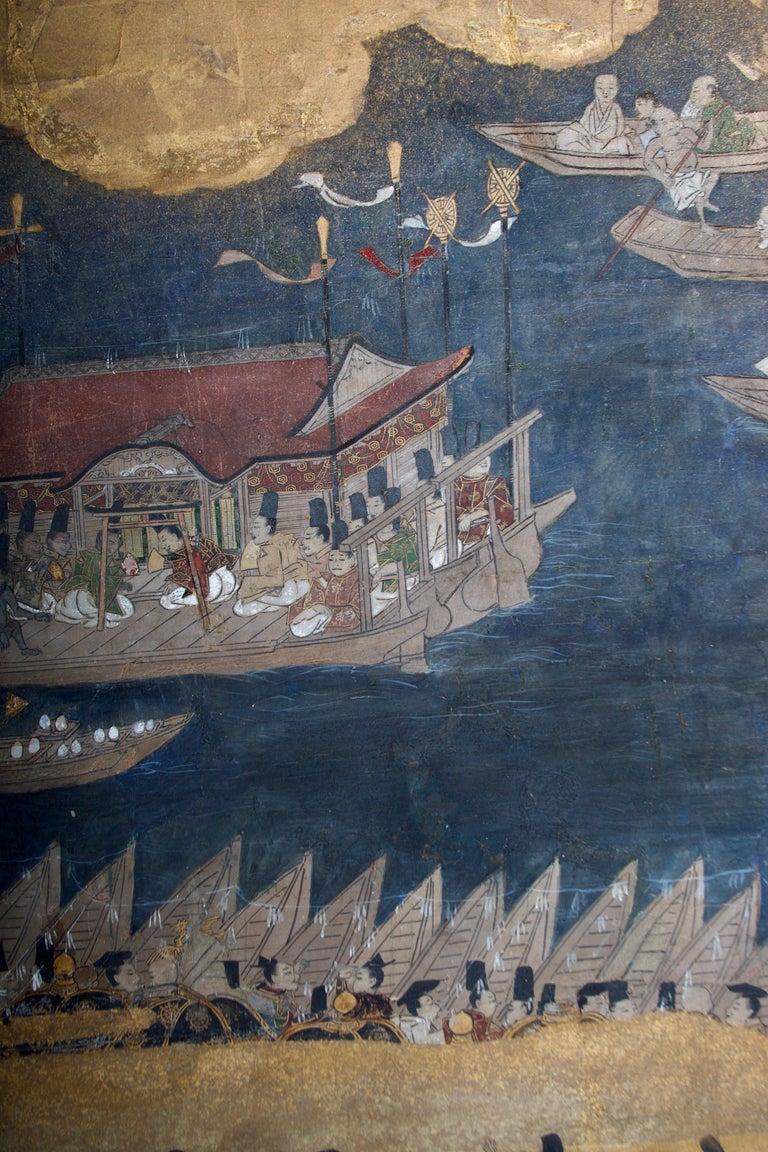 Edo Period Six Panel Folding Screen, Depicting the Hie Sanno Matsuri Festival For Sale 1