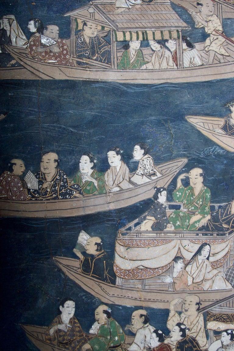 Edo Period Six Panel Folding Screen, Depicting the Hie Sanno Matsuri Festival For Sale 2