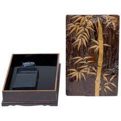 Edo Period Zitan Wood Suzuribako 'Writing Box' with Bamboo Design