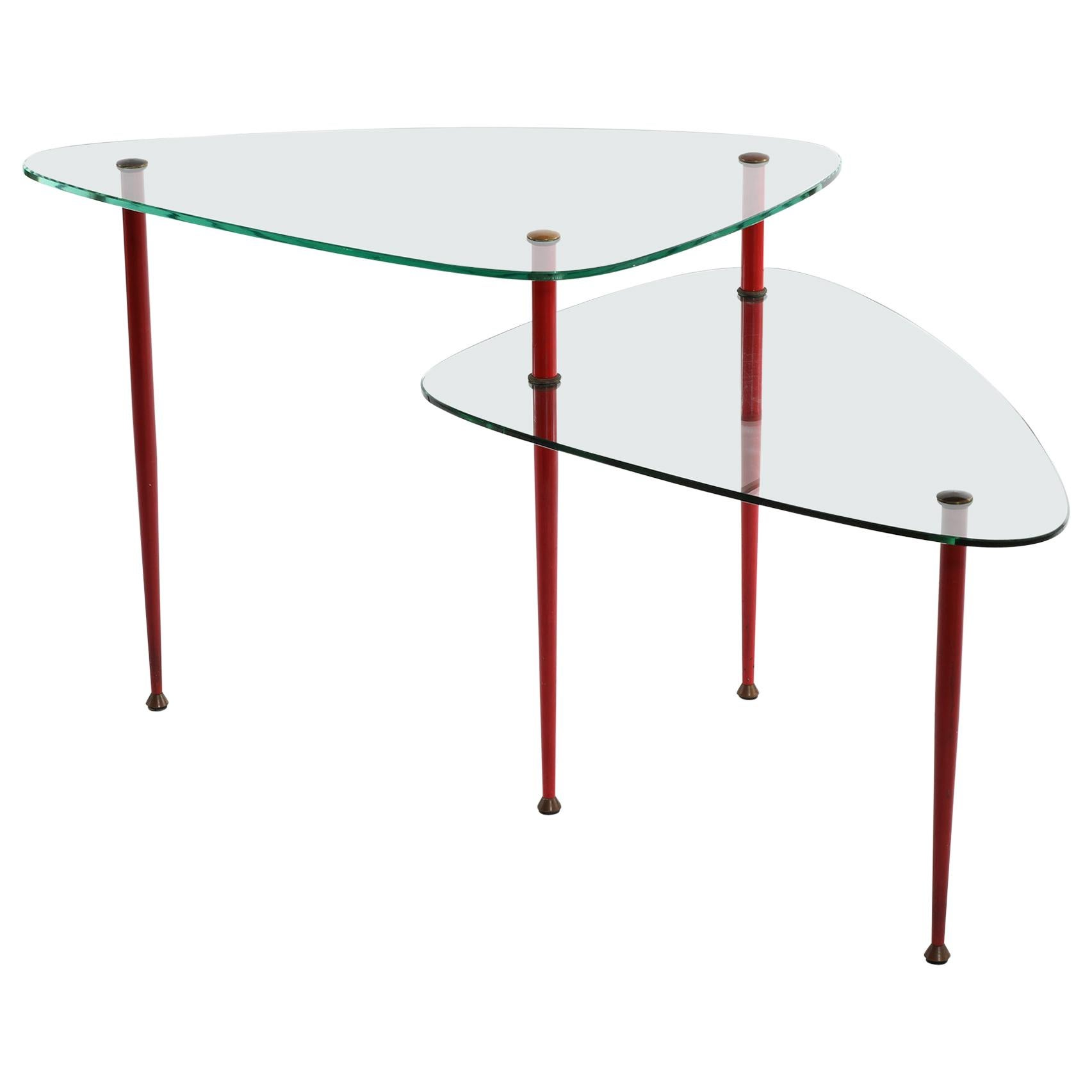 Edoardo Paoli Midcentury Italian Tempered Glass and Brass Side Table