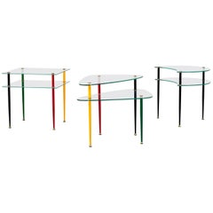 Edoardo Paoli Set of Three Coffee Tables Vitrex in Groung Glass and Metal