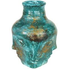 Edouard Cazaux French Midcentury Ceramic Vase with Faces