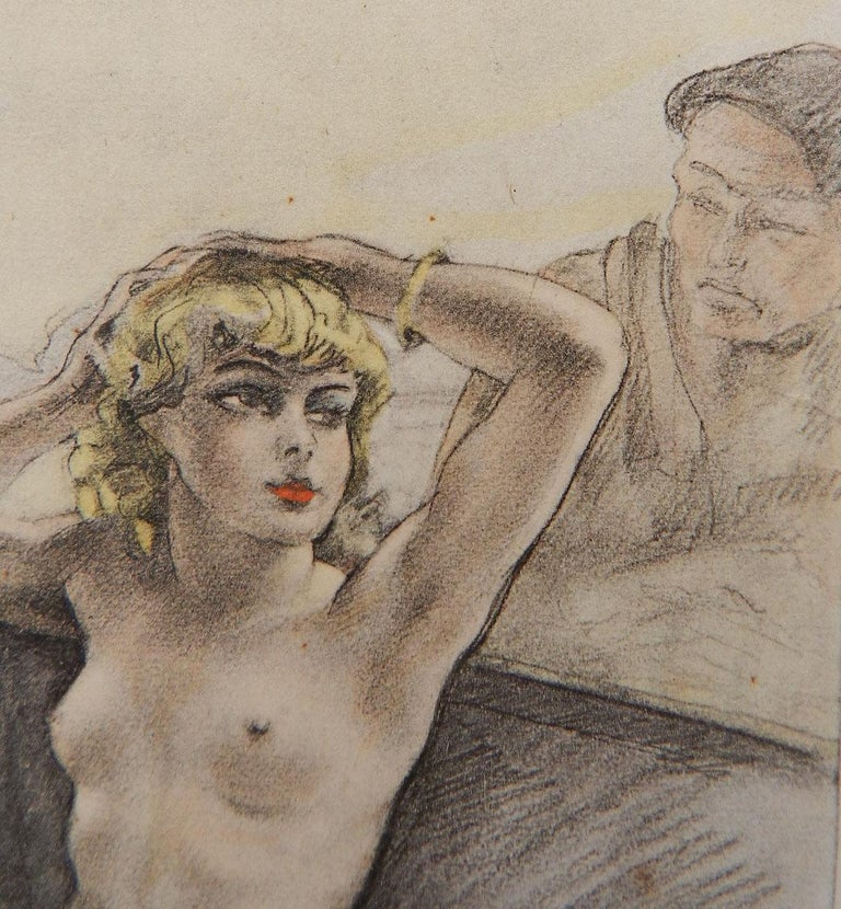Nude Lithograph Print by Edouard Chomet c1936 Art Deco Erotica  Signed in the plate From the well known printer to Artists of the era Emile Chamontin Paris with original stamp on the back Unframed on paper Actual image measures 11.25cms 4.43ins high