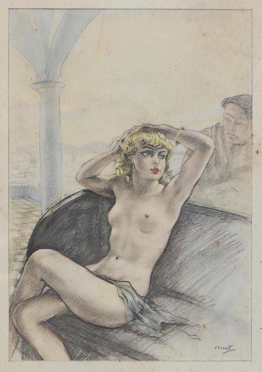Edouard Chimot Nude Lithograph Print c1936 Art Deco Erotica