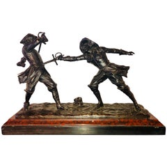 Edouard Drouot French Bronze Depicting Two Fencers on Marble Base