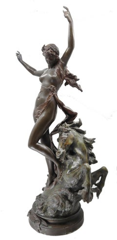 Bronze woman and horse in movement, Édouard Drouot,  19th century, French