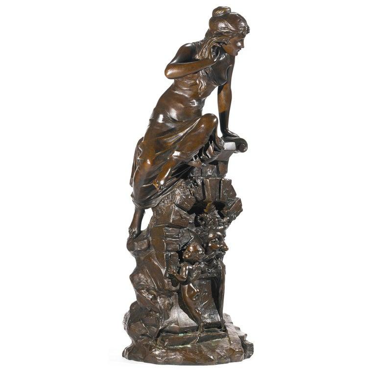 Le Secret - Sculpture by Edouard Drouot