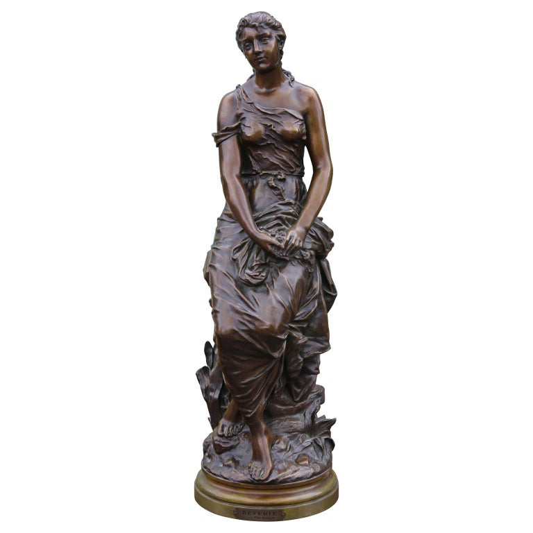 """Edouard Drouot Figurative Sculpture - """"Rêverie"""" Female Bronze Figure"""