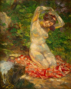 Impressionist Edouard Zier Nude at the Park Late 19th Century Oil on Canvas
