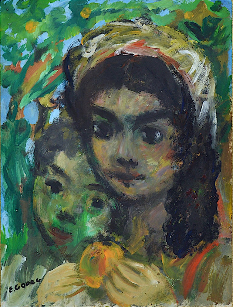 Two Young Spanish Girls, Oil on paper - Painting by Edouard Goerg