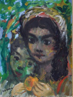 Two Young Spanish Girls, Oil on paper