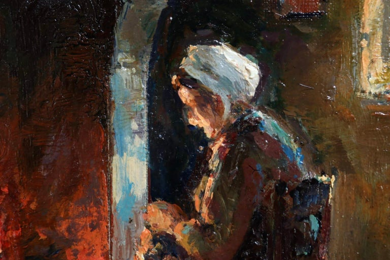 Au coin du feu - Impressionist Oil, Figure in Interior by Edouard Leon Cortes For Sale 6