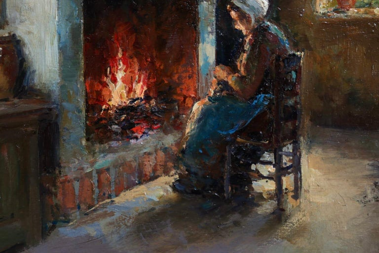 Au coin du feu - Impressionist Oil, Figure in Interior by Edouard Leon Cortes For Sale 1