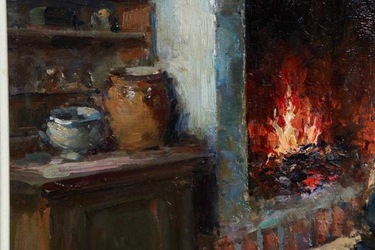 Au coin du feu - Impressionist Oil, Figure in Interior by Edouard Leon Cortes For Sale 2