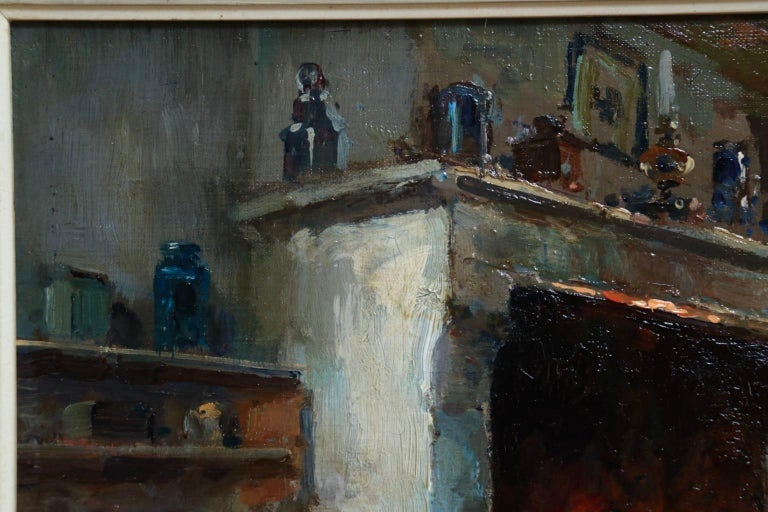 Au coin du feu - Impressionist Oil, Figure in Interior by Edouard Leon Cortes For Sale 3