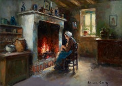 Au coin du feu - Impressionist Oil, Figure in Interior by Edouard Leon Cortes