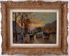"""""""Avenue des Champs-Élysées à Paris"""" by Edouard Léon Cortès, 20th C Oil on Canvas"""