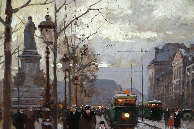 Bastille - Evening - 19th Century Figures in Cityscape Oil by Edouard Cortes - Gray Figurative Painting by Édouard Leon Cortès