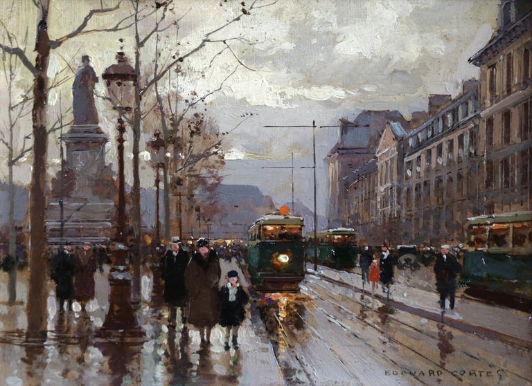 Édouard Leon Cortès Figurative Painting - Bastille - Evening - 19th Century Figures in Cityscape Oil by Edouard Cortes
