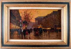 """""""Boulevard de la Madeleine, Crepuscule"""", 20th Century Oil on Canvas by E. Cortès"""