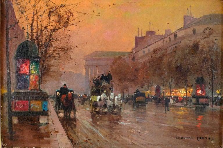 """Édouard Leon Cortès Landscape Painting - """"Boulevard de la Madeleine"""", Oil on Canvas of Parisian Sunset by Édouard Cortès"""