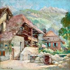Chalets - Talloires - Impressionist Oil, Landscape by Edouard Leon Cortes