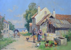Feeding the Chickens, Horse and Wagon in Normandie, France