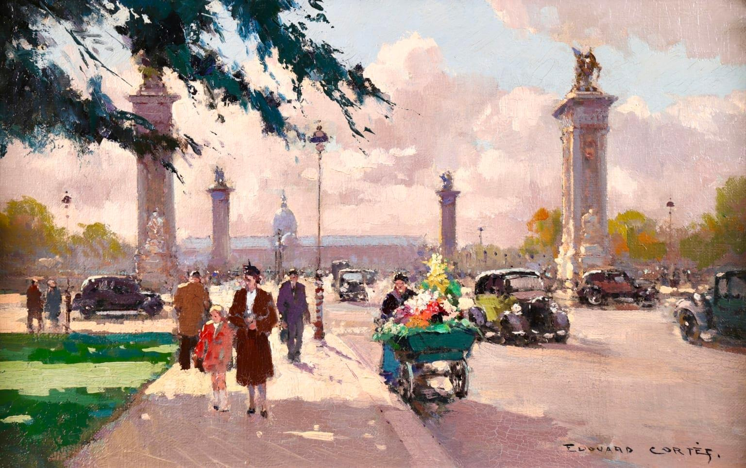 Flower Seller at the Pont Alexandre III - Impressionist Cityscape Oil - E Cortes