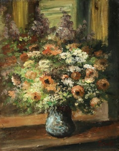 Flowers - 20th Century Oil, Still Life of Flowers in Interior by Edouard Cortes