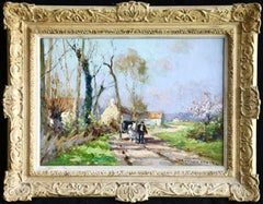 Horse & Cart on Country Road- 20th Century Oil, Figure on Path by Edouard Cortes