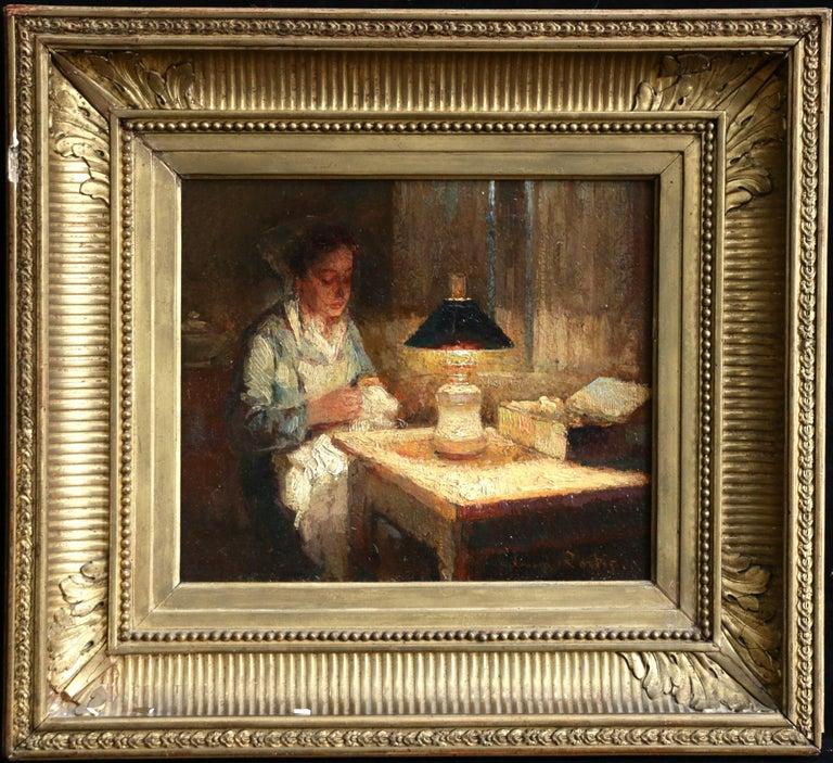La Couturier - Effet de Lampe - Impressionist Oil, Figure in Interior - E Cortes - Painting by Édouard Leon Cortès