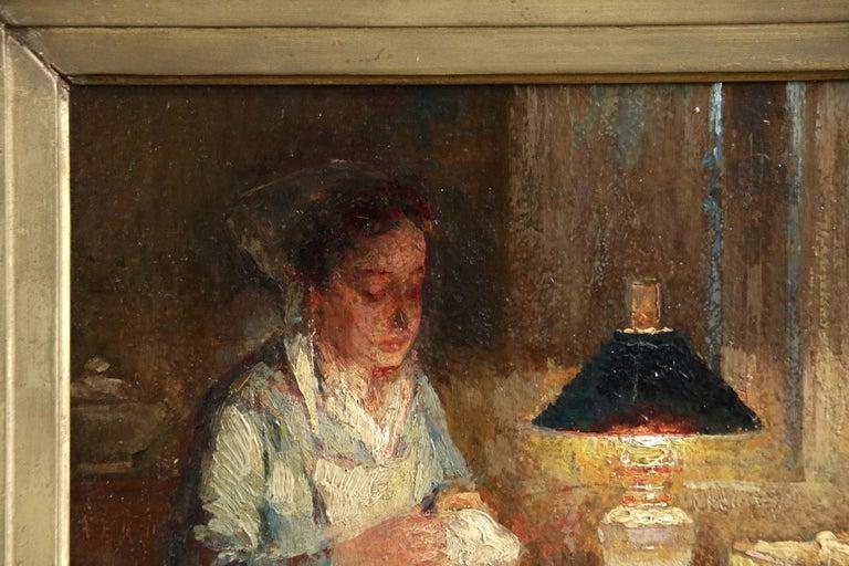 La Couturier - Effet de Lampe - Impressionist Oil, Figure in Interior - E Cortes - Brown Interior Painting by Édouard Leon Cortès