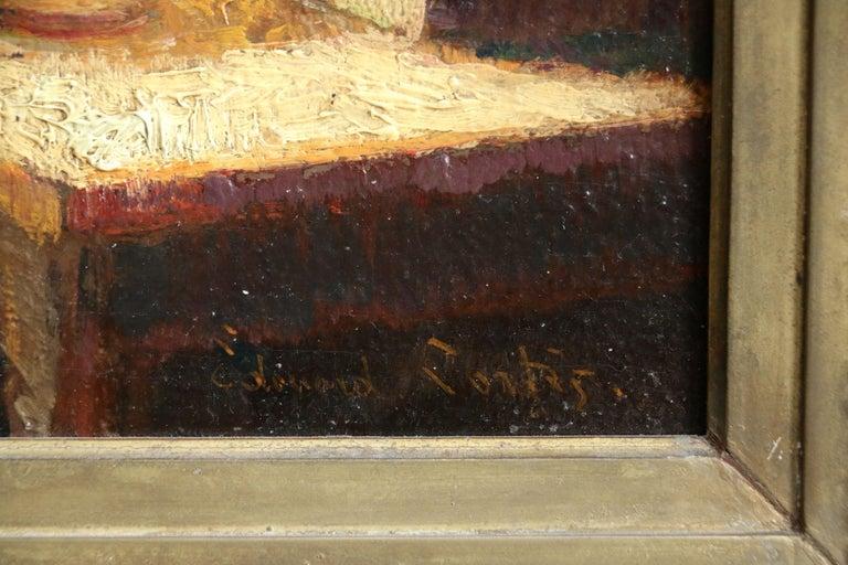 La Couturier - Effet de Lampe - Impressionist Oil, Figure in Interior - E Cortes For Sale 1
