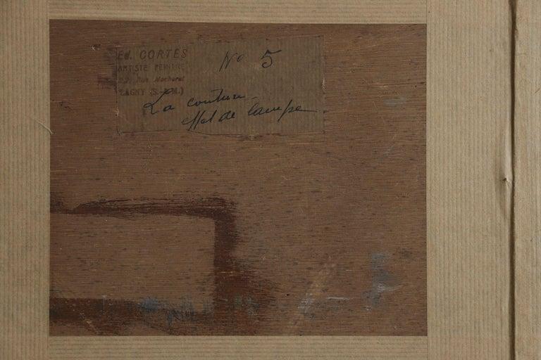 La Couturier - Effet de Lampe - Impressionist Oil, Figure in Interior - E Cortes For Sale 2