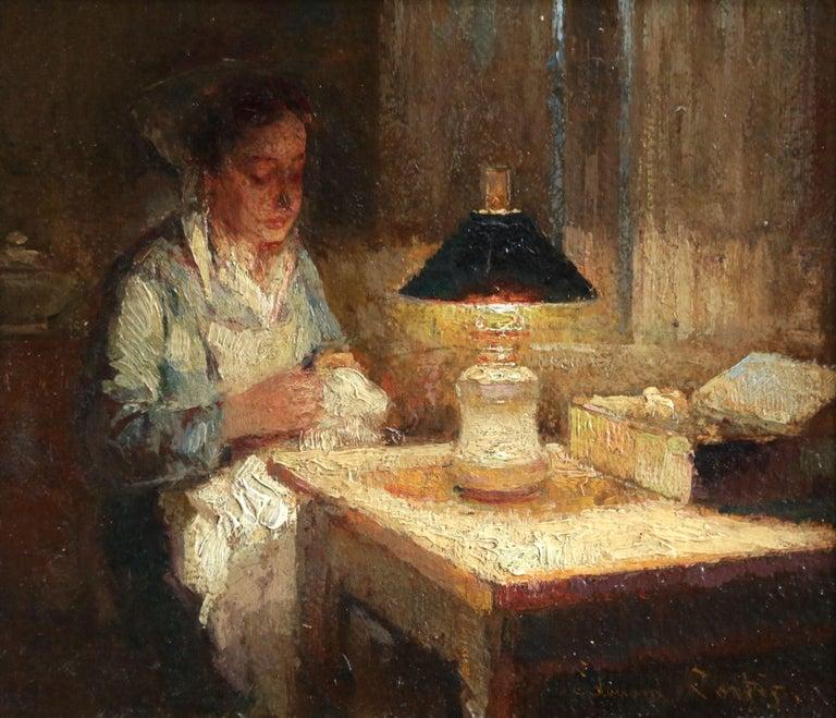 Édouard Leon Cortès Interior Painting - La Couturier - Effet de Lampe - Impressionist Oil, Figure in Interior - E Cortes